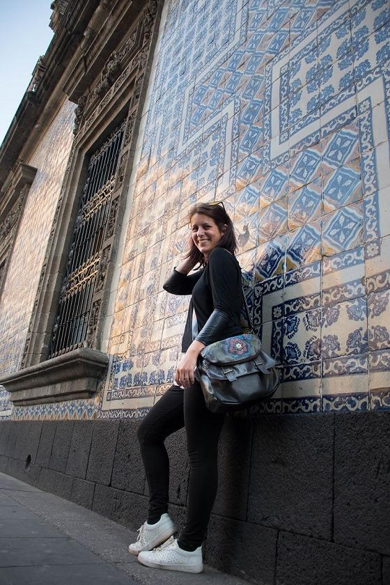 Me in front of the wall at House of Tiles in CDMX