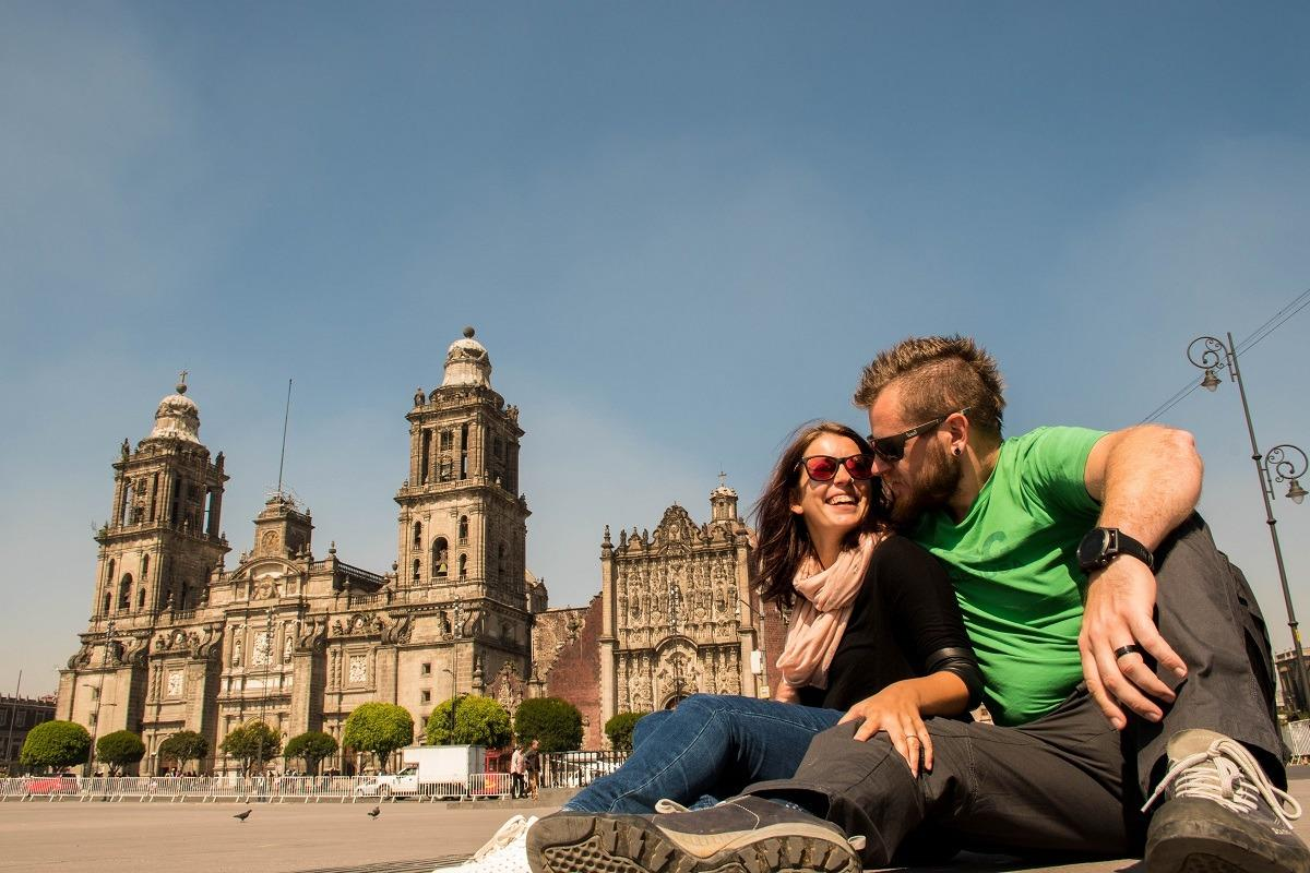 Zocalo - first place you'll want to visit during your 4 days in Mexico City. On the picture us two and a cathedral in the back