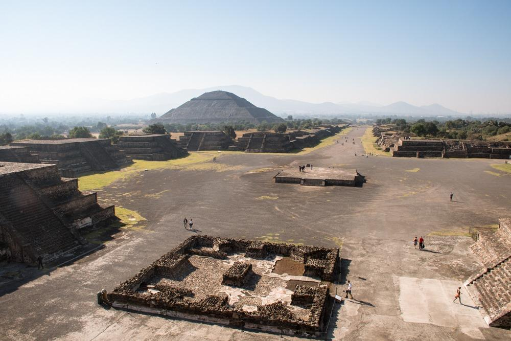 The view on Teotihuacan complex from the pyramid of the moon (you can see pyramid of the sun in the distance). We higlhly recommend to visit this complex during your 4 days in Mexico City!