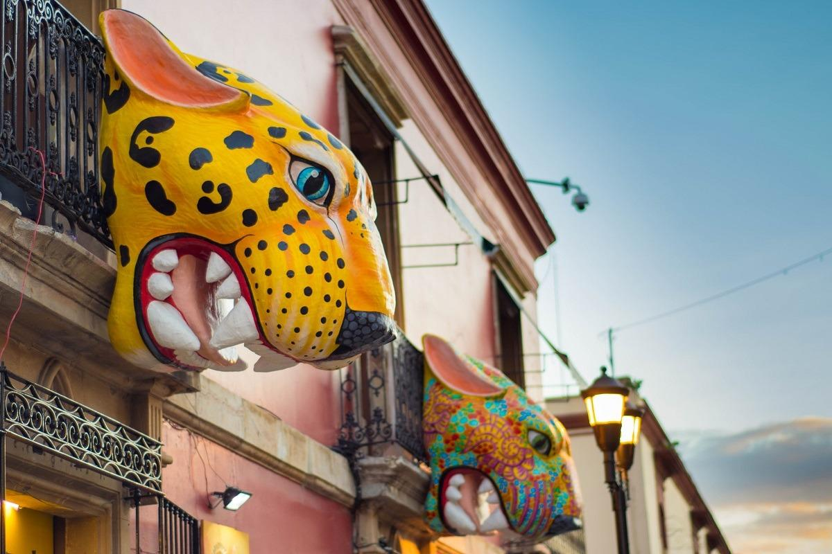 Big colorful jaguar heads sticking out of the buidling wall (Oaxaca street art)