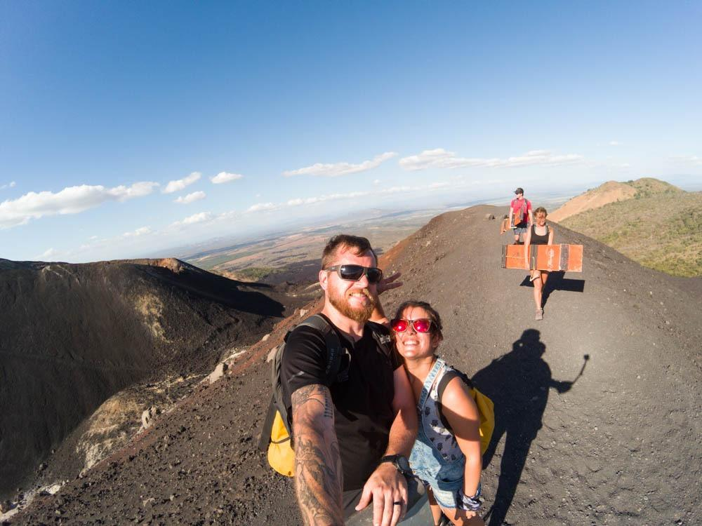 We made it to the top! (volcano boarding Nicaragua)