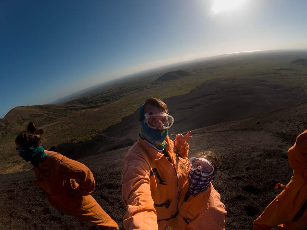 )Us in the cute potato bags :P (Cerro Negro)