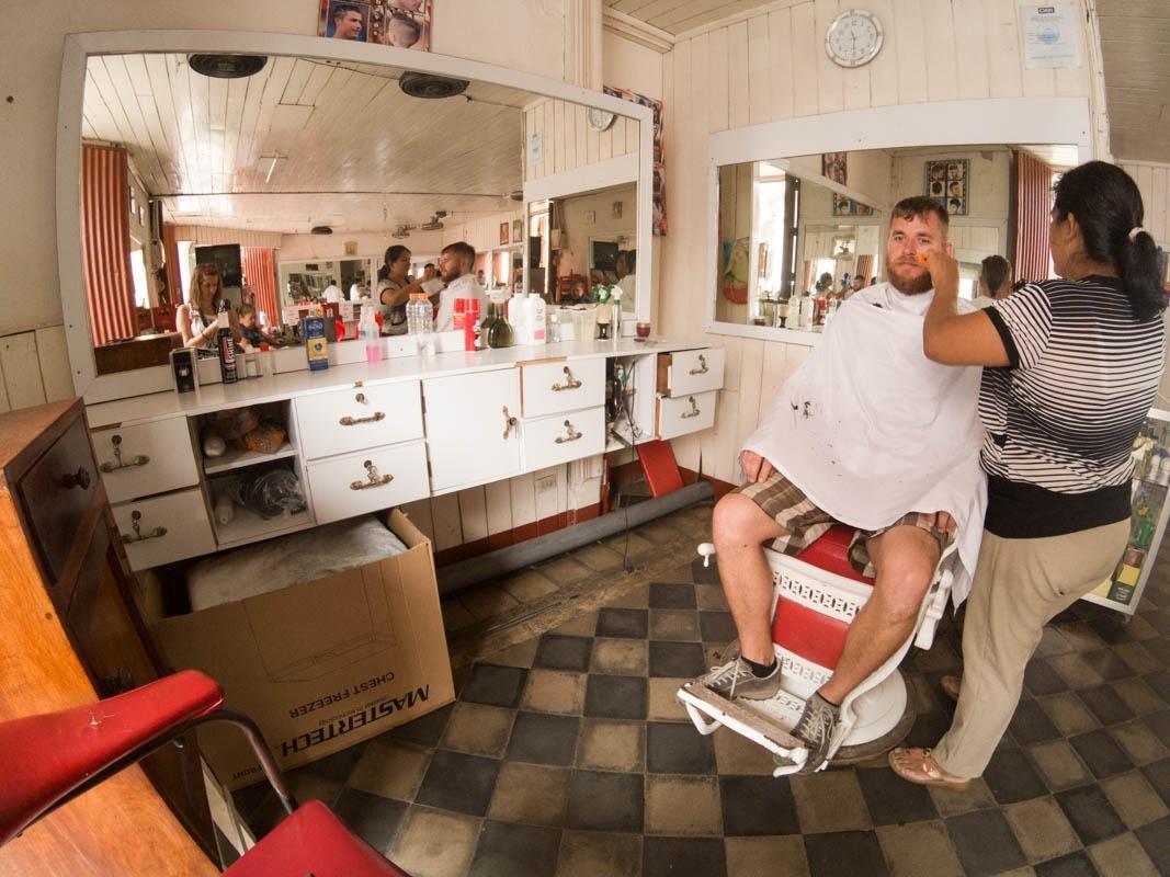 At barber shop (NIcaragua travel budget)