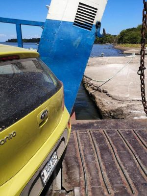 A car on the ferry to Ometepe Island (Nicaragua Travel Budget Breakdown)