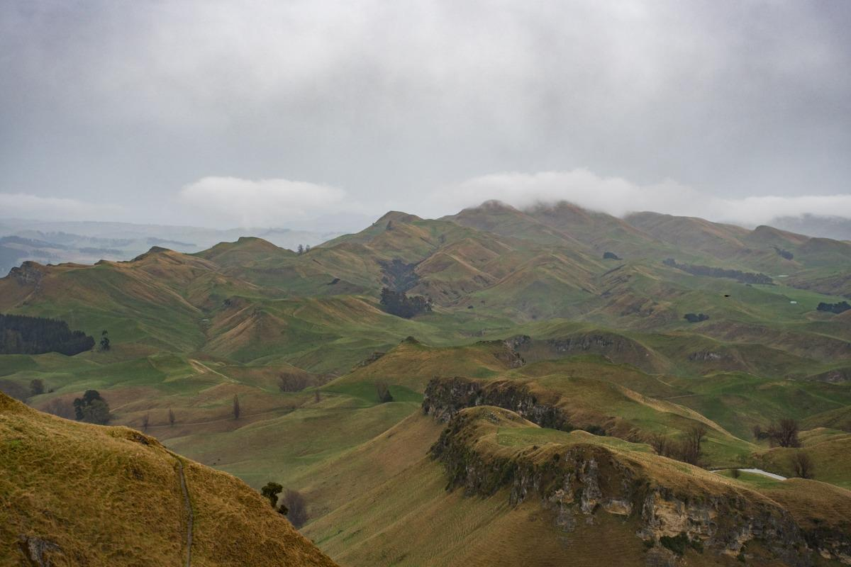 View from Te Mata Peak on a rainy day