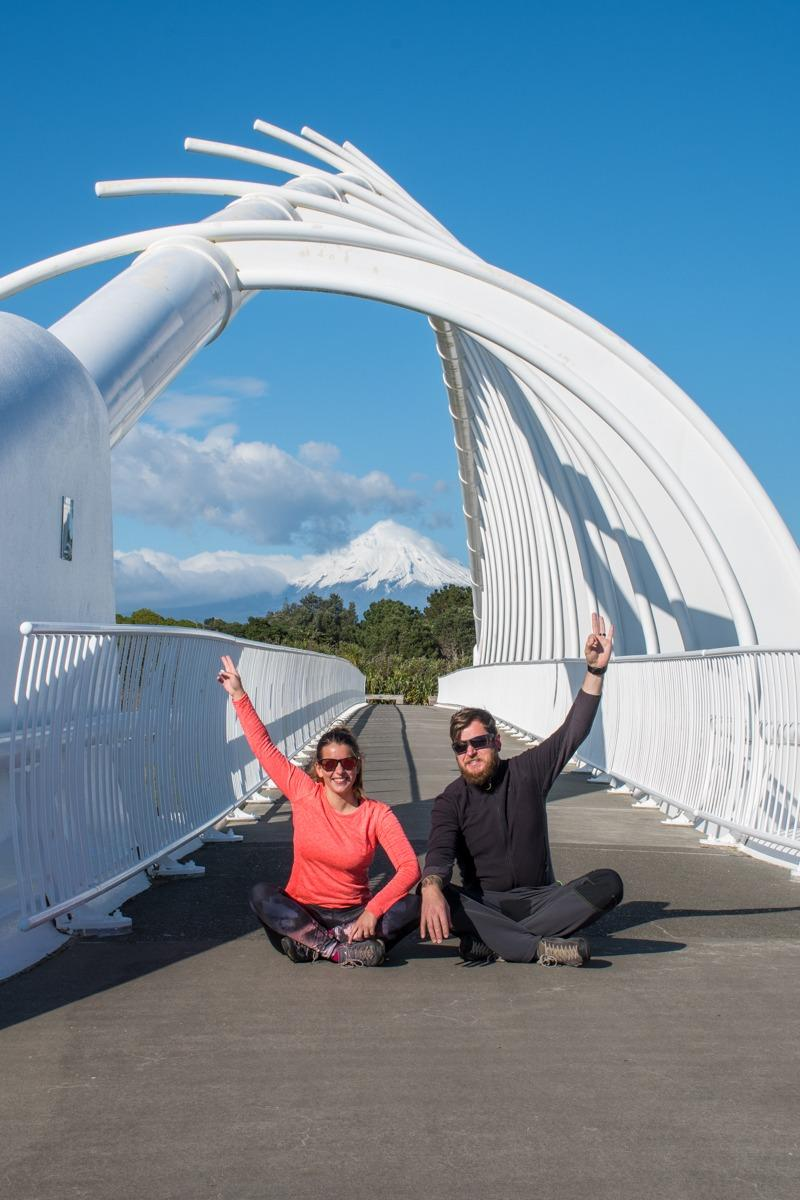 Us at Te Rewa Rewa Bridge and Mt Taranaki in the distance