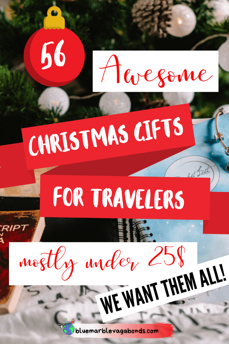 55+Awesome Christmas Gifts For Travelers - for travel planning, useful items, gadgets, for home, travel inspiration and more. For every budget, but mostly under 25$! #christmasgifts #giftsfortravelers #christmasgiftsfortravelers #travelgifts #christmasguide #tips #travelinspiration