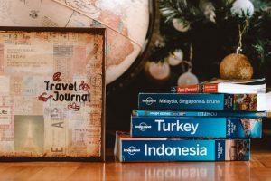 Lonely Planet gudies, A Travel Jounral and A Globus under the Christmas tree (Christmas gifts for travelers cover photo)