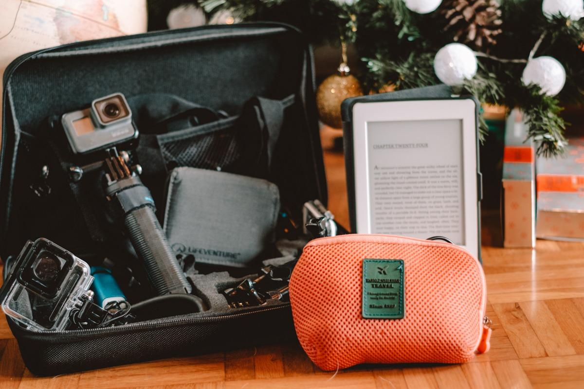 Travel gadgets - gopro and accessories, Kindle, power bank,..under a Christmas tree (Christmas gifts for travelers)