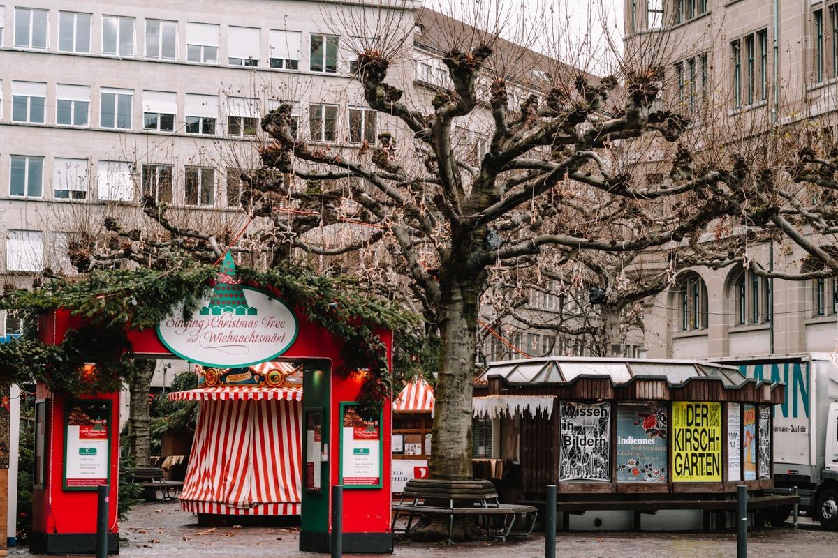 """Božični sejem v Zürichu - vhod v sejem, kjer je """"pojoče drevo"""""""
