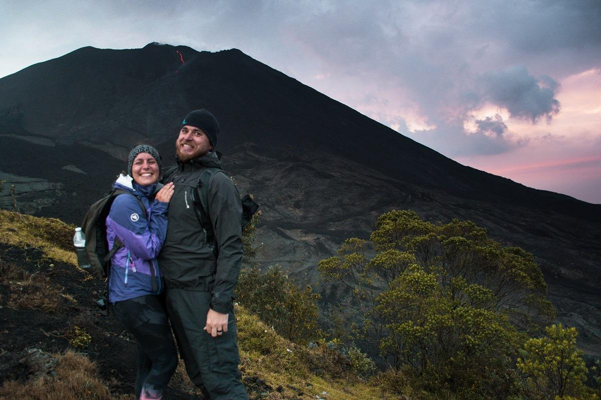 A very happy looking couple in front of Vulcano Pacaya, Guatemala (our yearlong honeymoon)