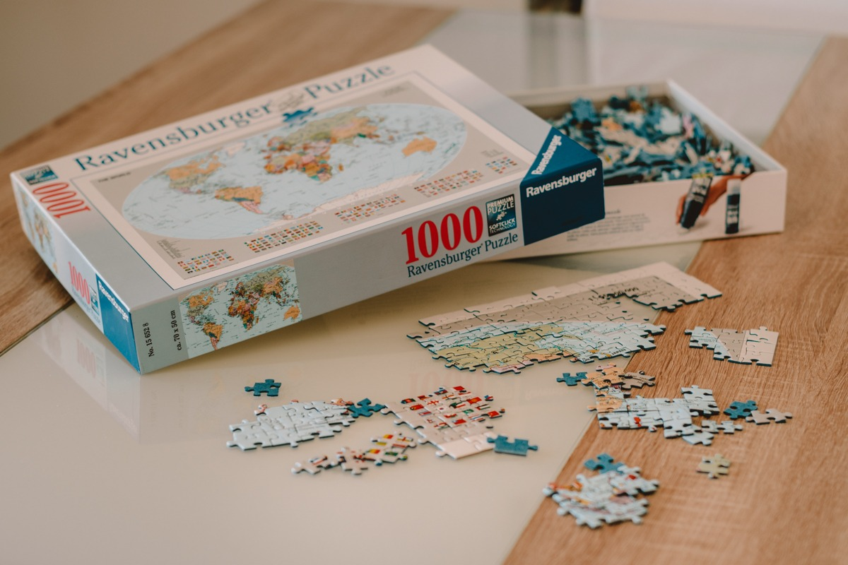 Puzzles with world map (great idea how to fuel your wanderlust from home)