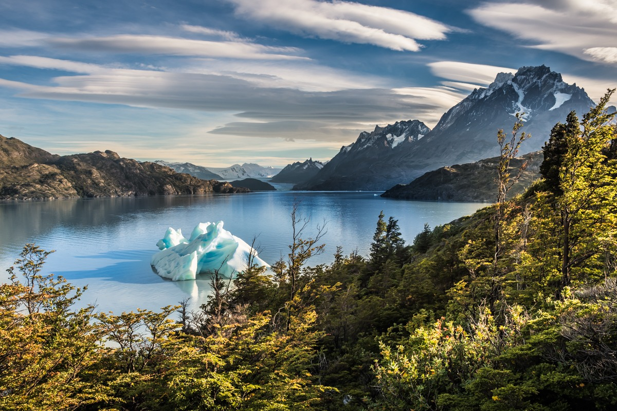 Lake Grey with mini iceberg (best time to visit Torres del Paine - atumn colors)