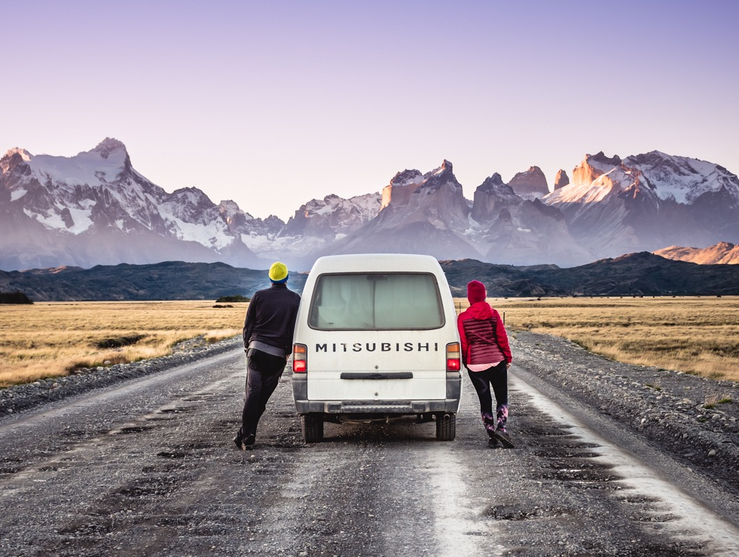 With a van in Torres del Paine