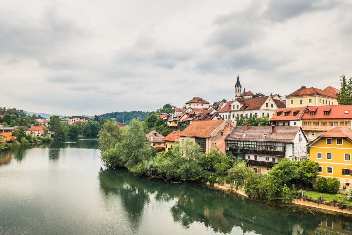 Novo mesto Slovenia, view from the birdge