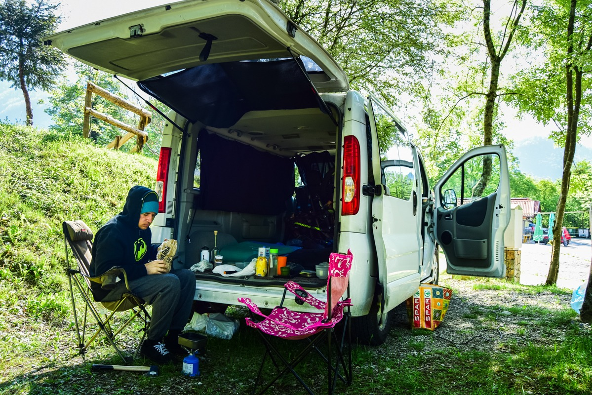 In a campsite with our van