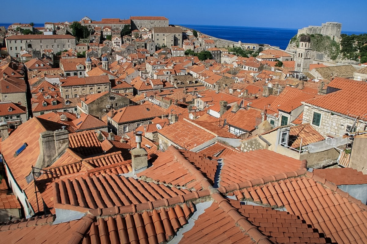 Dubrovnik, a highlight of any Balkan trip, from the above - rooftops and sea in the distance