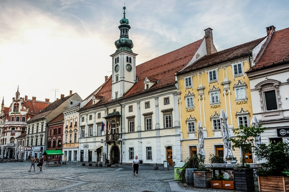 Street in Maribor, Slovenia - a city worth stopping in on a Balkan trip