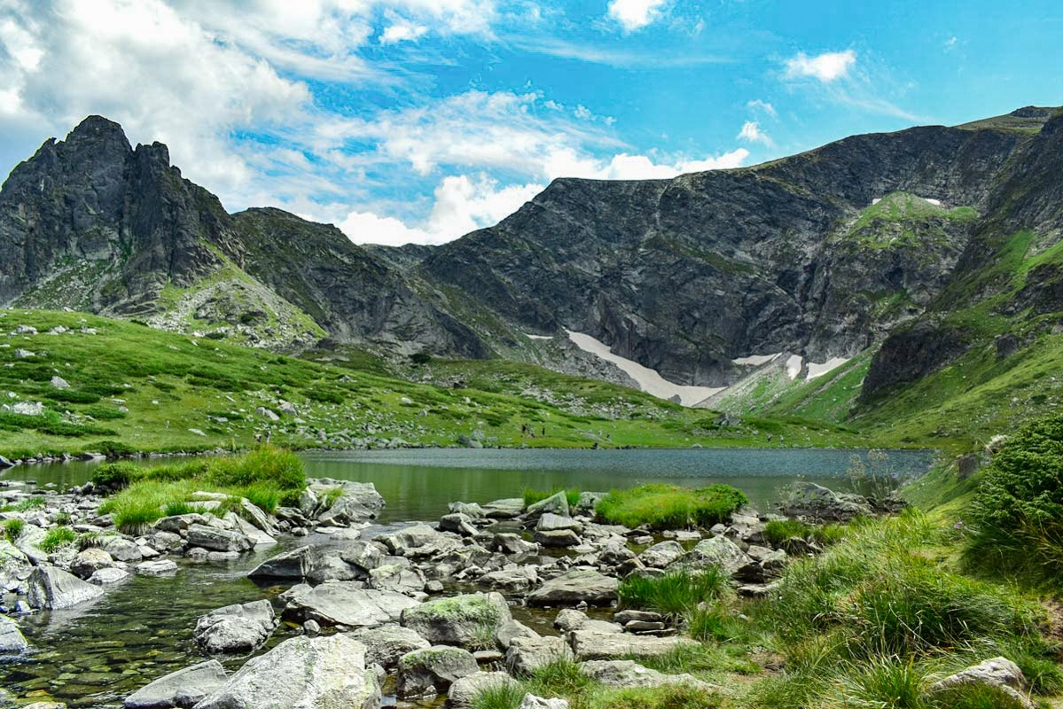 One of the Rila lakes in Bulgaria, nestled among mountains.