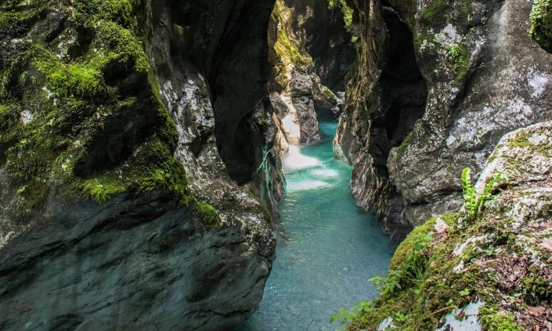 Tolmin Gorgein Slovenia - emerald river in the narrow gorge