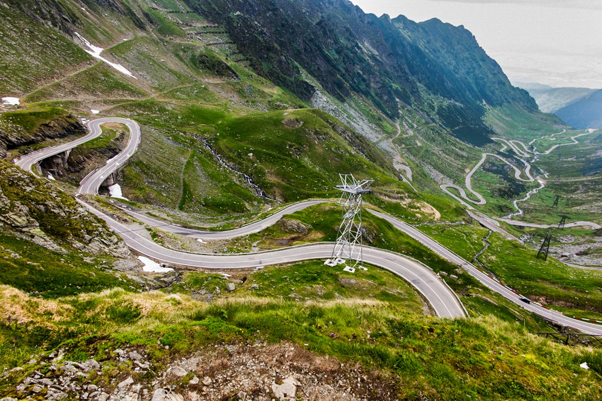 Serpentines of Transfagarasan highway in Romania - this Balkan road is one of the most scenic in the world