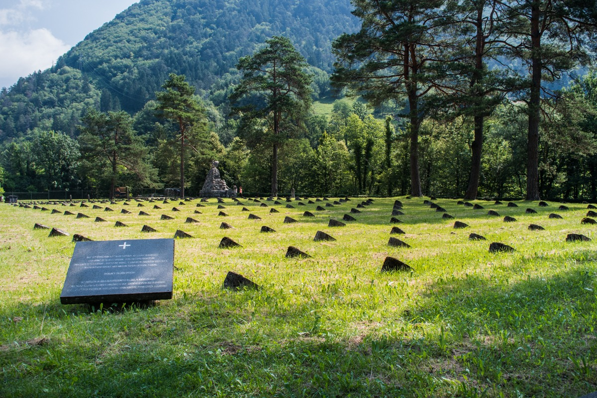 WWI cementary on the way to Tolmin Gorge in Tolmin, Slovenia
