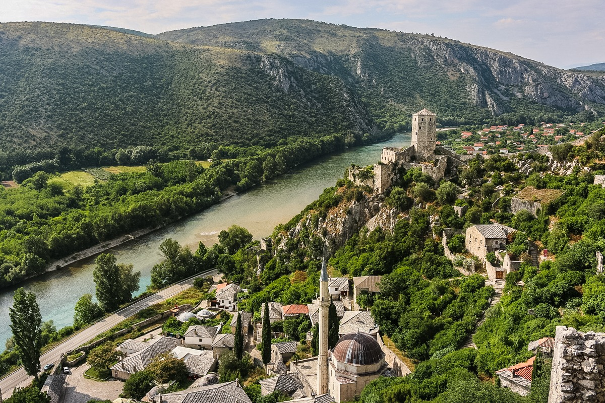 Pocitelj in Bosnia - view on a city and the river