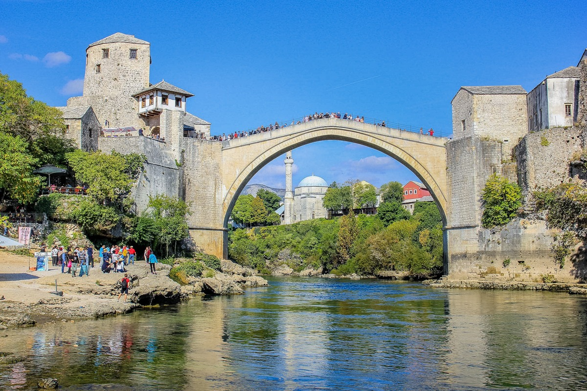 Old bridge in Mostar (Bosnia and Herzegovina), one of the highlights of a trip through the Balkans