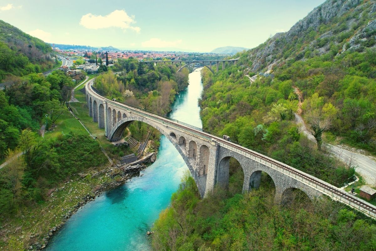 Solkan bridges in Slovenia, where bungee jumping, one of the top outdoor adventures in Slovenia, takes place